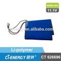 12 voltluk lityum pil/12v lipo yüksek gerilim yeniden pil ct626696