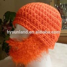 W-114 crocheted orange beard cap with a fuzzy blaze beard