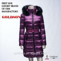2015 Coat Style Long Warm OEM Women Winter Duck Down Jacket with Real Black Fox Fur