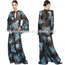 2015 Women round neck long sleeve sexy sheer pakistani burqa designs