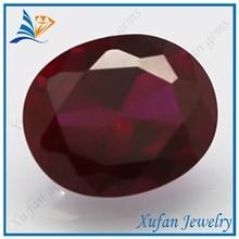 8# oval shape dark red corundum stone bead