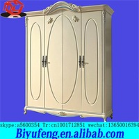 French solid wood wardrobe Fashion oak ivory white chest of the lacquer that bake High quality whole four door wardrobe