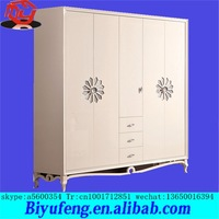 Korean ivory white Solid wood lacquer that bake Four door of push-pull door wardrobe manufacturers selling