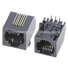 Telephone Modular PCB Jack, RJ11 connector, 6P6C, 6u-inch Gold, Black