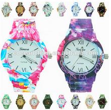2014 geneva Watch,print flower lady watch,japan movt quartz watch stainless steel back