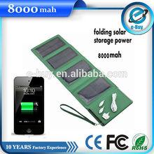 New arrival folding solar storage power bank 8000mah with LED light