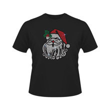 Long Or Short Sleeve Wholesale Fashion Christmas Santa Rhinestone T-shirts Custom