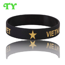 summer promoting business silicone bracelet printed text word