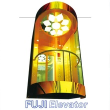 FUJI Hot Sale Sightseeing Elevator Lift Making with mirror stainless steel,etching
