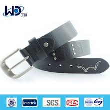 Custom navy embroider genuine leather men belt