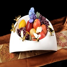 New products fashion ceramic butterfly fruit bowl decoration