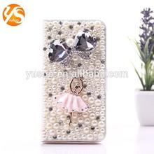 2014 Hot selling! Handmade Diamond Pearl Ballerina Flip Leather Phone Case For iPhone 6