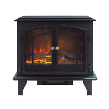Black cast effect freestanidng electric fireplace with double doors, cheap electric fireplace heater