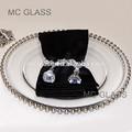 barato por atacado do casamento de ouro e prata de vidro frisado carregador de placas
