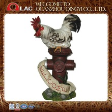 decorative rooster on fire hydrant resin garden statues with welcome board
