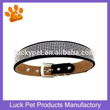 Fashion luxury blinking rhinestone black soft velvet fabric pu leather dog collars Pet size for XS,S,M,L,XL