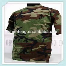 100% cotton soft custom woodland camouflage t- shirt