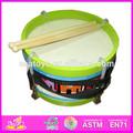 Música en miniatura de juguete de madera del tambor del tambor conjunto de juguete para los niños, caliente la venta de instrumentos musicales de percusión niños tambores w07j005-a1 conjunto