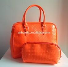 2014 hot selling fashion 2pcs one set cheap price tote woman handbag leather lady handbag