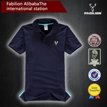 100%cotton Solid color mens POLO shirts,five color and Hem split ends