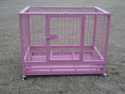 heavy duty square tube folding metal pet kennel with metal tray and wheels