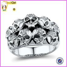 2014 fashion diamond silver skull ring design for men diamond skull wedding rings