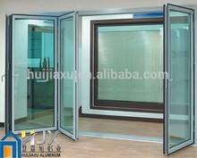 Aluminum Alloy Framed Double Clean Glass Folding Doors Office Design