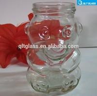 High quality clear panda animal shape juice glass bottle honey bear jar