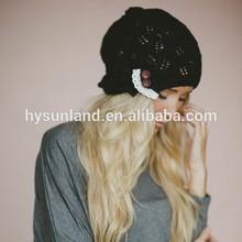 W-394 Fall beanie boho winter open knit lace trimmed beanie hat for women