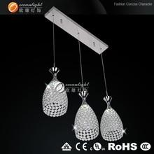 three inter arch shape crystal lamp,HongKong fair pendant lamp,led crystal pendant lamp OM88564-3