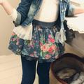 Wholesale2014 outono coreano versão do novo vestuário infantil feminino flores sub-rede fios denim saias saia saia qz-0971