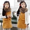 Qz-1993 toptan moda çocuk kış çocuk giysileri çocuk giyim kız korean yeni basit kolsuz yelek elbise etek