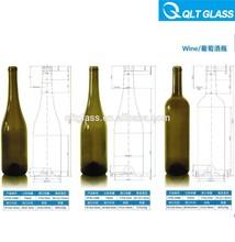 de color verde oscuro de vino de vidrio botella de cuello largo de alta calidad de ventas al por mayor de color de botellas de licor