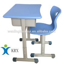 Single adjustable school desk & chair for student school furniture