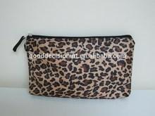 Printed Leopard Pattern Simple Pencil Case With Zipper Closure