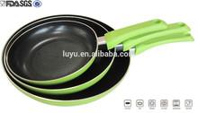 3pcs pressed emboss Canton Fair aluminum nonstick coating fry pan set