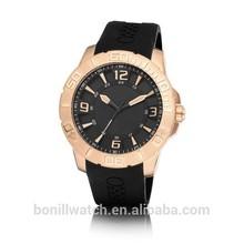 2015 New Product luxury men fashion men geneva rose gold silicone quartz watch