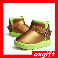 OXGIFT high quality sheepskin upper wool felt ankle winter snow girls boots