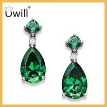 High-Quality Sterling Silver Earrings Unique Tear Shape Jewelry Bezel Green Amethyst Silver Earrings