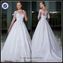 servicio de encargo vestido 2015 noiva de de manga de la tapa de encaje blanco satinado arco puffy manga larga vestido de bola vestido de novia