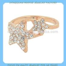 fashion gold alloy star shape diamond freemason rings