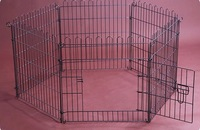 Folding iron wire enclosure dog run Pet Playpen fence with six panels