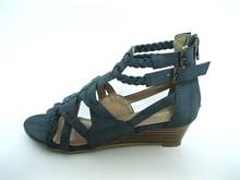Medium Heel Wedged Classic Black Womens Sandal