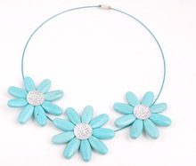fashion simple glittering three turquoise flower choker Necklace