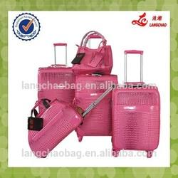 Professional design pu travel trolley luggage business trolley bag