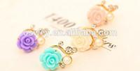 Rose Flower Pattern 3D Crystal Bead Pearl Diamond Dust Plug For iPhone iPod iPad