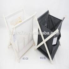 portable folding furniture white and black X-wooden frame gift magazine rack
