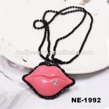 Fashion Colorful Diamond Lip Pendant With Alloy Chain Necklace