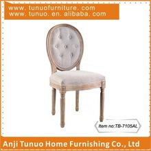 TB-7105AL, Fabric Louis chair for dinner with Buttons on back and Solid wood