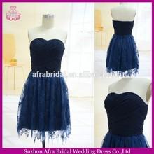 Sw144 curto chiffon corpete e saia de renda barato azul real amostra vestido de dama de honra
